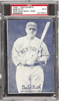 Baseball Cards:Singles (Pre-1930), 1926-1929 Exhibits Babe Ruth Postcard Back-Pose PSA EX 5. You'll behard-pressed to find a superior photographic portrait o...