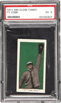 Baseball Cards:Singles (Pre-1930), 1911 E94 Close Candy Ty Cobb PSA EX 5. UPDATE: Please note thatthe white discoloration apparent on Cobb's lower left tor...
