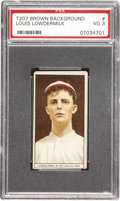 Baseball Cards:Singles (Pre-1930), 1912 T207 Brown Background Louis Lowdermilk PSA VG 3. With alifetime pitching record of four victories and five defeats, L...