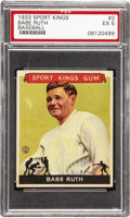 Baseball Cards:Singles (1930-1939), 1933 Goudey Sport Kings Babe Ruth #2 PSA EX 5. The title of thisGoudey issue sums it up nicely as Ruth is certainly consid...
