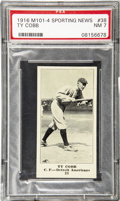 Baseball Cards:Singles (Pre-1930), 1916 M101-4 Sporting News Ty Cobb Blank Back #38 PSA NM 7. Issued the only season of a nine-year stretch in which this firs...