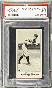 1916 M101-4 Sporting News Ty Cobb Blank Back #38 PSA NM 7. Issued the only season of a nine-year stretch in which this f...