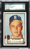 Baseball Cards:Singles (1950-1959), 1952 Topps Ed Mathews #407 SGC 70 EX+ 5.5. Several factors conspireto place the offered cardboard at the top of collectors'...