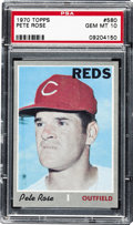 Baseball Cards:Singles (1970-Now), 1970 Topps Pete Rose #580 PSA Gem Mint 10. Due to the gray borders and the easily chipped paper that Topps used for the 197...