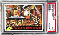 1962 Mars Attacks Terror in Times Square #8 PSA Mint 9. The aliens do damage to the heart of Manhattan that not even Rud...