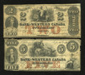 Canadian Currency: , Clifton, CW- The Bank of Western Canada. $2 Sept. 20, 1859 Ch. #795-10-08. $5 Sept. 20, 1859 Ch. # 795-10-16. ... (Total: 2 notes)