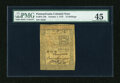 Colonial Notes:Pennsylvania, Pennsylvania October 1, 1773 15s PMG Choice Extremely Fine 45....