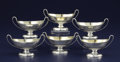 Silver Holloware, British:Holloware, A SET OF SIX GEORGE III SILVER AND SILVER GILT OPEN SALTS. AndrewFogelberg and Stephen Gilbert, Alice and George Burrows, L...(Total: 6 Items)