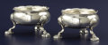 Silver Holloware, British:Holloware, A PAIR OF GEORGE II SILVER SALTS. David Hennell, London, England,1756-1757. Marks: (lion passant), (leopard's head crowned)...(Total: 2 Items)