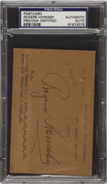 Autographs:Post Cards, 1937 Rogers Hornsby Signed Government Postcard. Just three monthsto the day before this Hall of Fame second baseman would ...