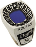 Baseball Collectibles:Others, 1987 Sandy Koufax Dodger Stadium Silver Anniversary Ring. Therocket-armed lefty is considered by many to be the most domin...