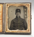 Photography:Tintypes, Cased Ninth Plate Tintype of Iowa Cavalryman With Period Identification. ...