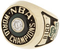 "Basketball Collectibles:Others, 1981 Larry Bird NBA Championship Salesman's Sample Ring. ""I don'tknow if I practiced more than anybody,"" Bird once said, ""..."