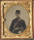 Photography:Tintypes, Cased Sixth Plate Tintype From Life and Post Mortem Daguerreotype of Identified Rhode Island Officer.... (Total: 2 Items)