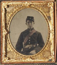Cased Sixth Plate Tintype From Life and Post Mortem Daguerreotype of Identified Rhode Island Officer