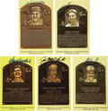 Autographs:Post Cards, 1983-2006 Inductees Signed Gold Hall of Fame Plaques Lot of 60.Willie Mays is the only legend missing from this remarkably...