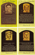Autographs:Post Cards, 1939-82 Inductees Signed Gold Hall of Fame Plaques Lot of 70. The Gold series of Hall of Fame plaques debuted in 1964, thou...