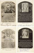 Autographs:Post Cards, 1940's-60's Hall of Fame Black & White Signed Plaques Lot of 33. Issued between 1947 and 1963, the black and white Artvue H...