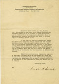 Autographs:U.S. Presidents, Franklin D. Roosevelt: Typed Letter Signed as Vice President ofFidelity and Deposit Company of Maryland....