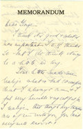 "Autographs:U.S. Presidents, Eleanor Roosevelt: Autograph Letter Signed ""E.R."" as FirstLady...."