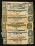 Confederate Notes:1864 Issues, Five T68 $10's 1864.. ... (Total: 5 notes)