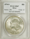 Eisenhower Dollars: , 1974-S $1 Silver MS67 PCGS. PCGS Population (3127/837). NGC Census: (636/120). Mintage: 1,900,156. Numismedia Wsl. Price fo...