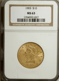 Liberty Eagles: , 1903 $10 MS63 NGC. NGC Census: (123/48). PCGS Population (91/44).Mintage: 125,800. Numismedia Wsl. Price for NGC/PCGS coin...