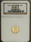 Commemorative Gold: , 1903 G$1 Louisiana Purchase/Jefferson MS63 NGC. NGC Census:(246/1380). PCGS Population (541/2142). Mintage: 17,500. Numism...