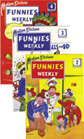 Golden Age (1938-1955):Humor, Motion Picture Funnies Weekly #2-4 Covers Only (First Funnies,Inc., 1939) Condition: NM....