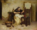 Fine Art - Painting, European:Antique  (Pre 1900), P. LANZONI (Italian, 19th Century). Monastic Cobbler, circa1890. Oil on board. 11-1/4 x 14-1/2 inches (28.6 x 36.8 cm)...
