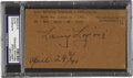 "Autographs:Post Cards, 1941 Napoleon ""Larry"" Lajoie Signed Government Postcard. Numbertwenty-nine on The Sporting News' 1999 list of the one ..."