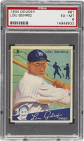 Baseball Cards:Singles (1930-1939), 1934 Goudey Lou Gehrig #61 PSA EX-MT 6. This is the second of thetwo Gehrig entries in the 1934 Goudey issue, both of which...