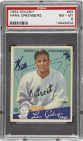 Baseball Cards:Singles (1930-1939), 1934 Goudey Hank Greenberg #62 PSA NM-MT 8. With less than ahalf-dozen copies in the world graded higher, this example rank...