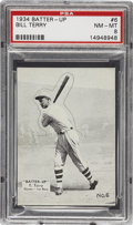 Baseball Cards:Singles (1930-1939), 1934-36 Batter-Up (R318) Bill Terry #6 PSA NM-MT 8. Offered is oneof the three highest graded examples, with not one having...
