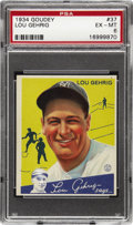 Baseball Cards:Singles (1930-1939), 1934 Goudey Lou Gehrig #37 PSA EX-MT 6. Lou Gehrig's portraitgraces the front of one of his two 1934 Goudey cards. Gehrig ...