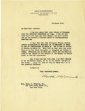 Autographs:U.S. Presidents, Franklin D. Roosevelt: Typed Letter Signed as Assistant Secretary of the Navy....