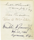 Autographs:U.S. Presidents, Franklin D. Roosevelt: Dated Signature with Eleanor and Others....