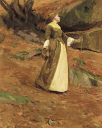 EANGER IRVING COUSE (American, 1866-1936) Portrait of Virginia Couse, circa 1890 Oil on canvas 31
