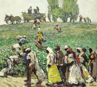 MILLARD SHEETS (American, 1907-1989) Cotton Pickers Oil on canvas 36 x 40 inches (91.4 x 101.6 cm