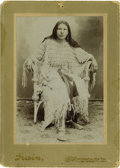 "Western Expansion:Indian Artifacts, Photograph of Indian Woman with ""Elk Tooth Dress"" Indian Territory,ca. 1880s-1890s. ..."