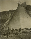 Western Expansion:Indian Artifacts, Large Format Photograph of Indian Woman and Children in Front of Teepee, ca. 1890s. ...