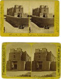 Western Expansion:Indian Artifacts, Two Stereoviews- San Miguel Church, Santa Fe, New Mexico Territory,ca. 1870s-1880s. ... (Total: 2 Items)