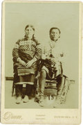 Western Expansion:Indian Artifacts, Cabinet Card Photograph of Two Osage Indians, Pawhuska, Indian Territory, ca. 1890s....