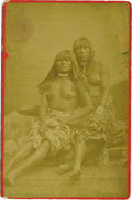 Western Expansion:Indian Artifacts, Cabinet Card Photograph of Two Yuma Indian Women with Child, ca.1870s-1880s....