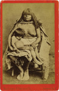 Western Expansion:Indian Artifacts, Cabinet Card Photograph of Yuma Indian Woman with Child ca1870s-1880s....
