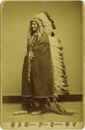 Western Expansion:Indian Artifacts, Cabinet Card Photograph Cheyenne Chief Two Moons, Dakota Territory, ca. 1880s....
