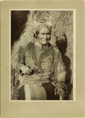 Western Expansion:Indian Artifacts, Large Format Photograph Attributed to William E. Irwin of ApacheChief Geronimo With Texas Dance Revolver, ca early 1900s. ...