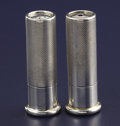 Silver Holloware, British:Holloware, A PAIR OF ENGLISH NOVELTY SILVER SALT AND PEPPER SHAKERS.Unidentified maker, London, England, 1938-1939. Marks: (lionpassa... (Total: 2 Items)