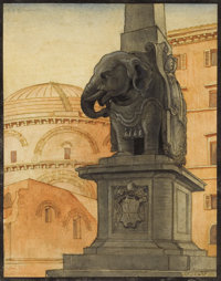 ANDRÉY BELOBORODOFF (Russian, 1884-1984) South East View of the Pantheon from Piazza della Minerva, 192
