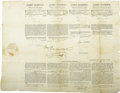 Autographs:U.S. Presidents, James Madison and James Monroe Four Language Ship's Papers Signed ...
